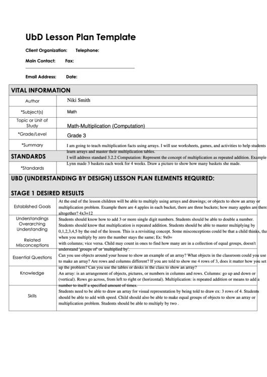 lesson plan template pdf  Ubd Lesson Plan Template printable pdf download - lesson plan template pdf
