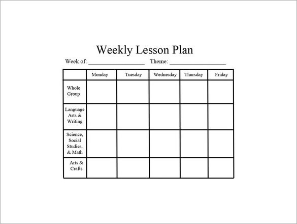 10 week lesson plan template  Weekly Lesson Plan Template - 11+ Free PDF, Word Format ..