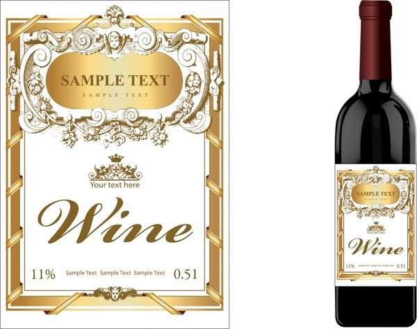 wine labels template  Wine label template luxury golden classical decor Free ..