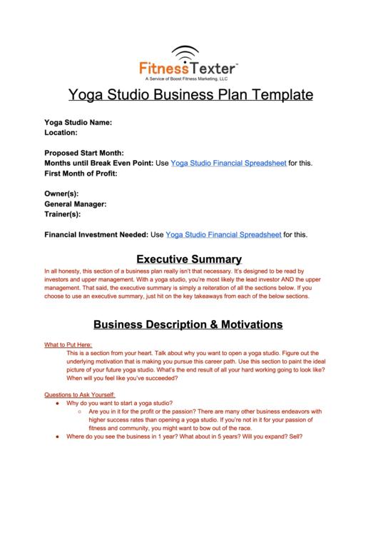 yoga proposal template  Yoga Studio Business Plan Template printable pdf download - yoga proposal template