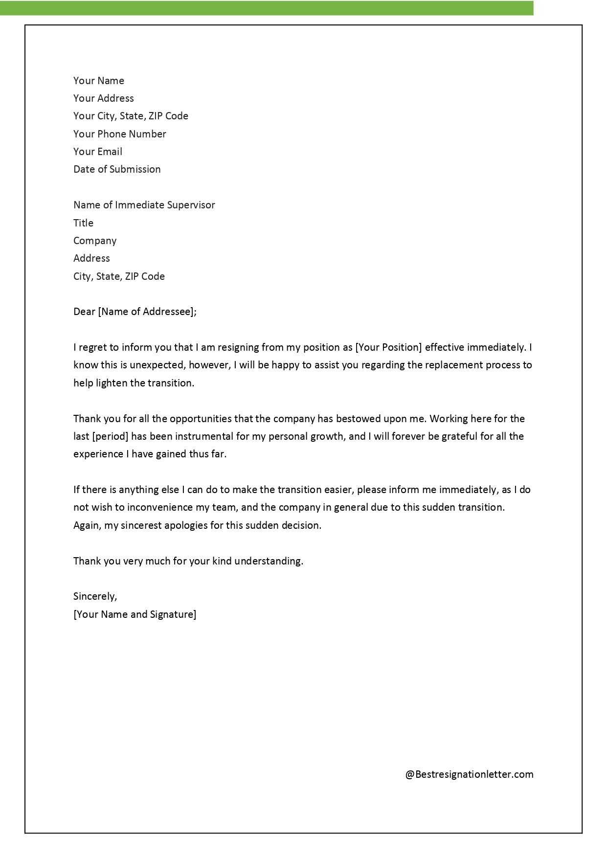 resignation letter template for bpo  10 Resignation Mail Formats   Resume Letter - resignation letter template for bpo