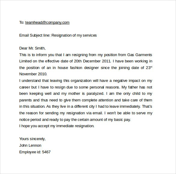 resignation letter template alberta  12 Best Email Cover Letter Templates to Download | Sample ..