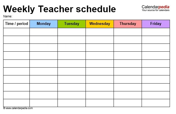 class schedule template for teachers  12 Free Sample Teacher Schedule Templates - Printable Samples - class schedule template for teachers
