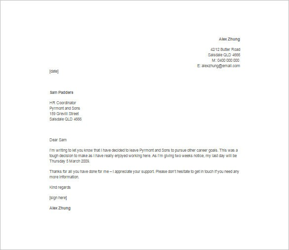resignation letter template casual  12+ Job Resignation Letter Template - Free Word, Excel ..