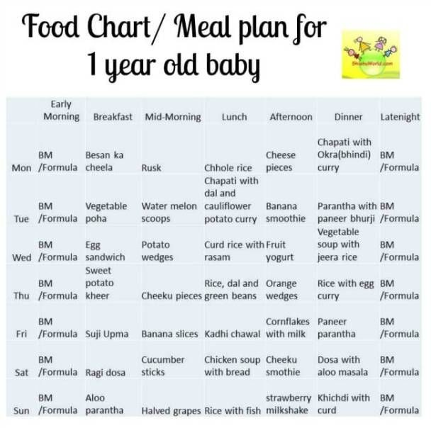 sample eating plan for 12 month old  12 month Baby Food Chart/ Indian Meal Plan for 1 Year old ..