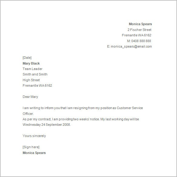 resignation letter template basic  14+ Notice of Resignations - Free Samples, Examples ..