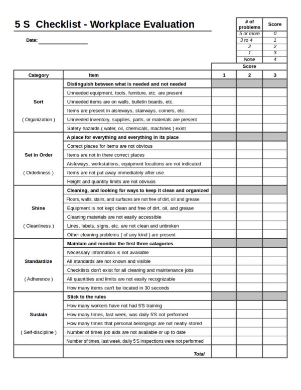 5s office checklist template  15+ Checklist Samples & Templates in EXCEL - 5s office checklist template