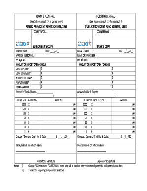 ppf deposit form bank of india  16 Printable cheque deposit slip Forms and Templates ..