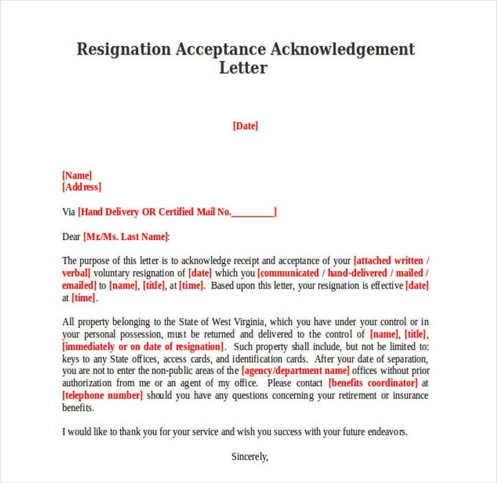 resignation letter template for bpo  18+ Sample Acknowledgement Letters - Free PDF, Word Format ..