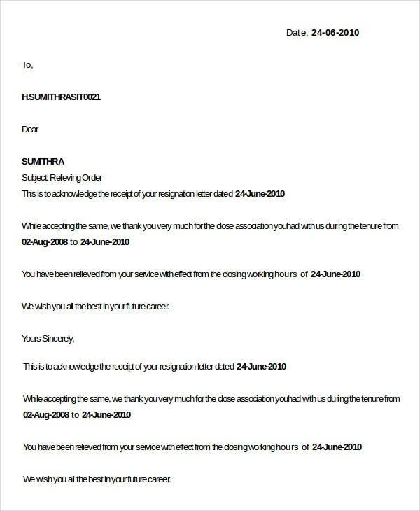 resignation letter template indeed  20+ Relieving Letter Format Templates - PDF, DOC | Free ..