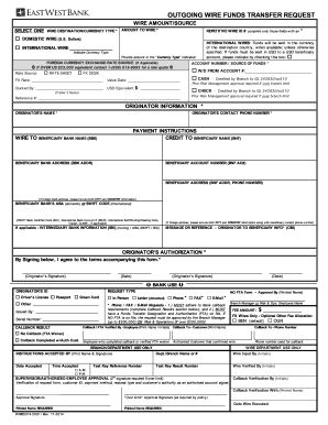 chase bank verification of deposit form  2014-2018 Form East West Bank Outgoing Wire Funds Transfer ..