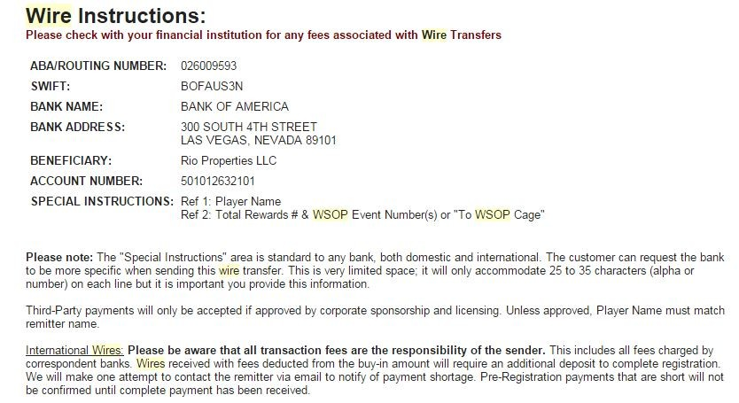 bank of america bank wire instructions  2015 WSOP Schedule, Pre-Registration, and Wiring Instructions - bank of america bank wire instructions