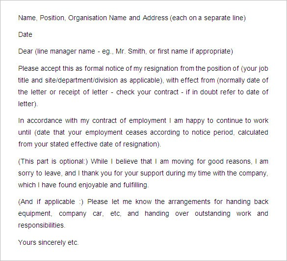 resignation letter template buyout notice period  24+ FREE Notice Period Letter Templates - PDF, DOC | Free ..