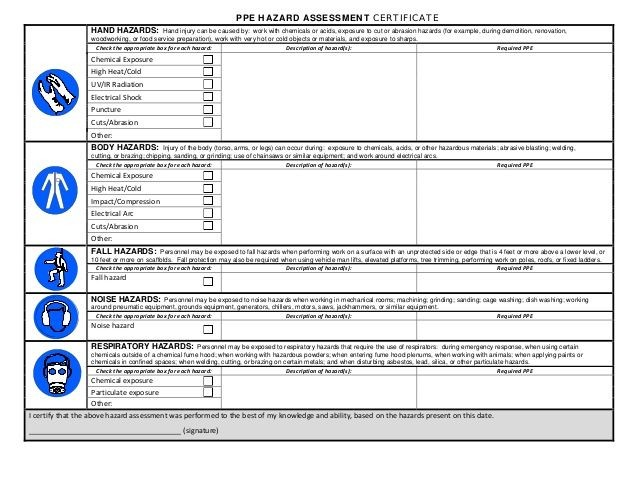 ppe checklist template uk  24 Images of PPE Hazard Assessment Certification Template ..