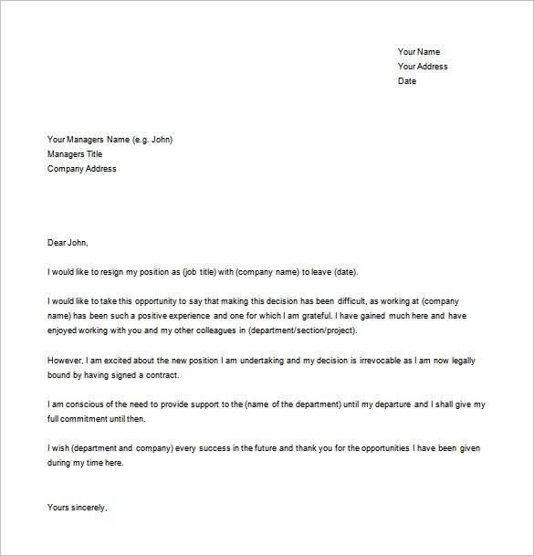 resignation letter template word doc  25+ Resignation Letter Examples - PDF, DOC   Free ..