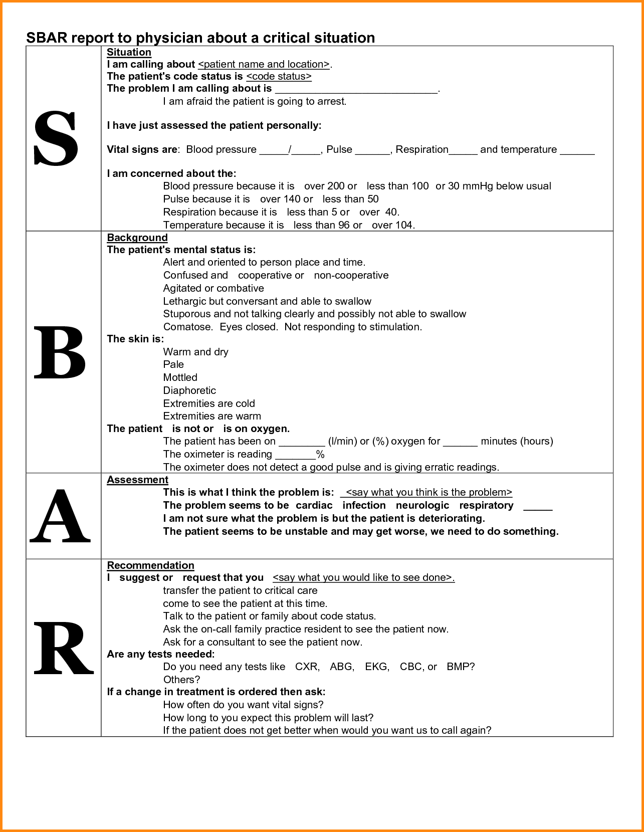 sbar template for nurses  27 Images of Sbar Template ICU Nurse Report Sheet ..