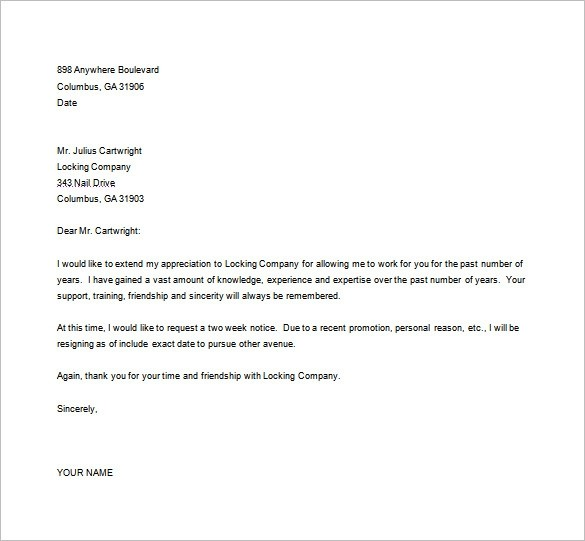 resignation letter template in word format  27+ Resignation Letter Templates - Free Word, Excel, PDF ..