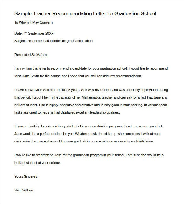 recommendation letter for a teacher going to graduate school  28+ Letters of Recommendation for Teacher - PDF, DOC ..