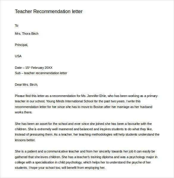 recommendation letter for kindergarten teacher from principal  28+ Letters of Recommendation for Teacher - PDF, DOC ..