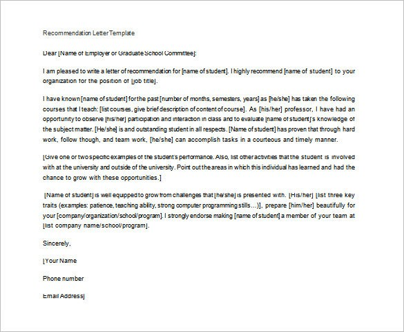 recommendation letter of teacher to student  28+ Letters of Recommendation for Teacher - PDF, DOC ..
