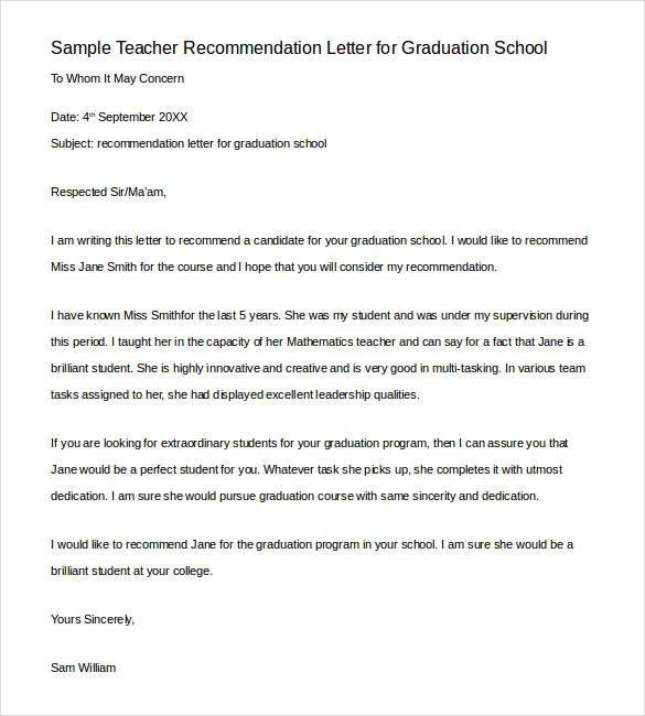 recommendation letter sample teacher to student  28+ Letters of Recommendation for Teacher - PDF, DOC ..
