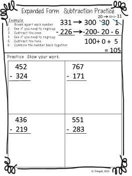 expanded form subtraction 2nd grade worksheets  3 digit Subtraction using Expanded Form/Break Apart ..