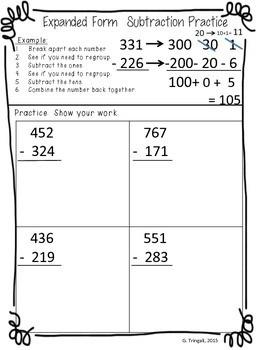 expanded form subtraction worksheets  3 digit Subtraction using Expanded Form/Break Apart ..