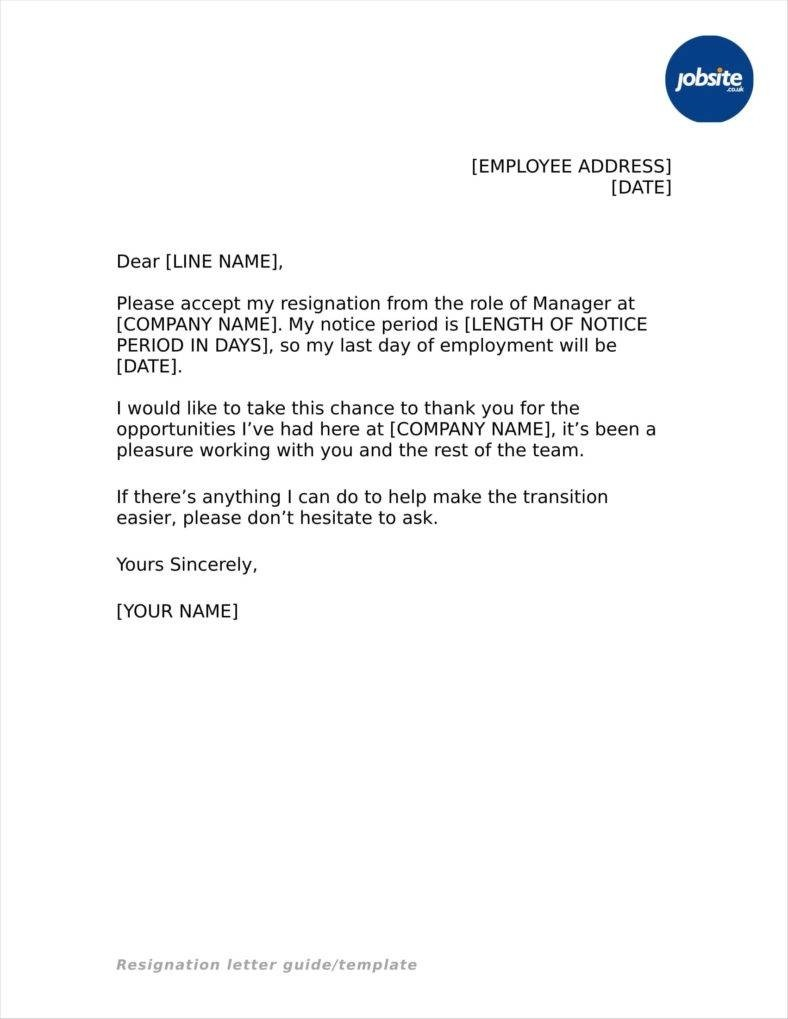resignation letter template basic  33+ Simple Resign Letter Templates - Free Word, PDF, Excel ..