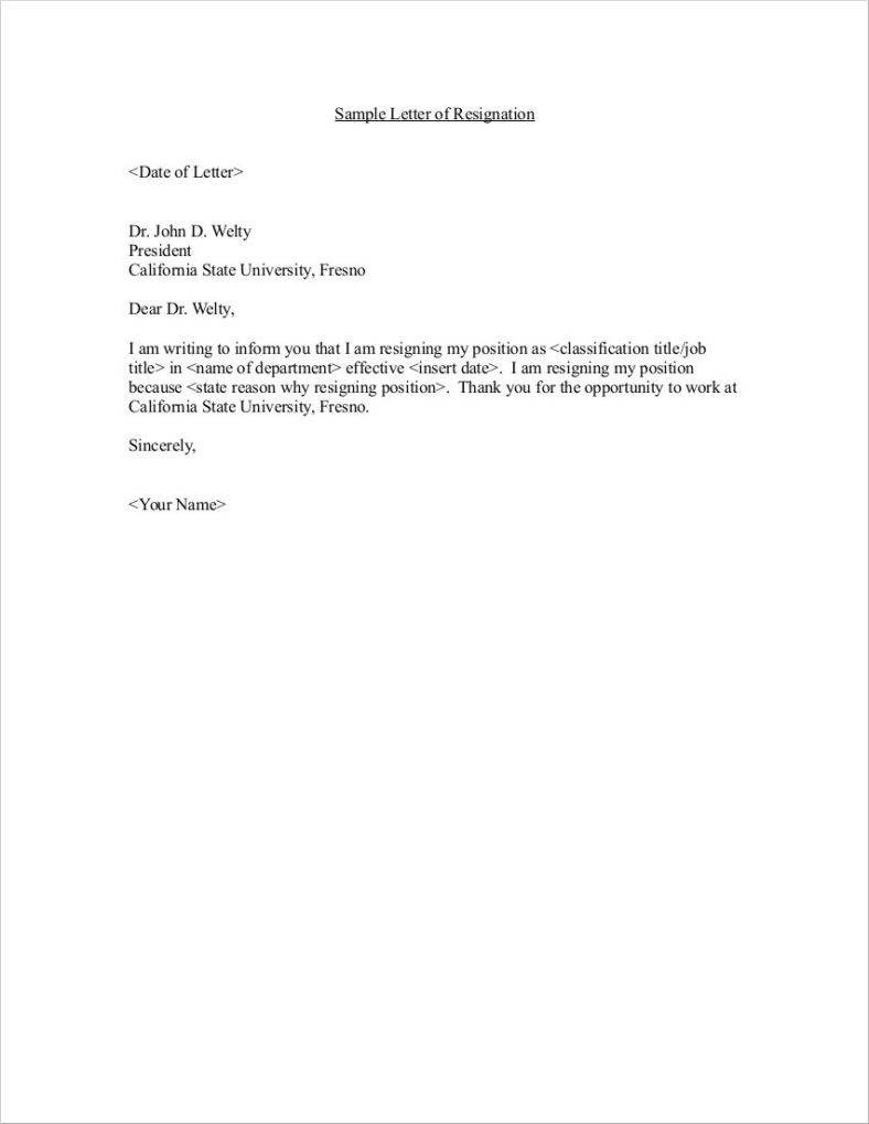 resignation letter template sample  33+ Simple Resign Letter Templates - Free Word, PDF, Excel ..