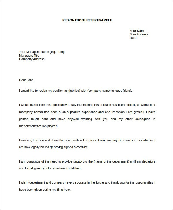 Resignation Letter Template In Word Format 3 Things You ...