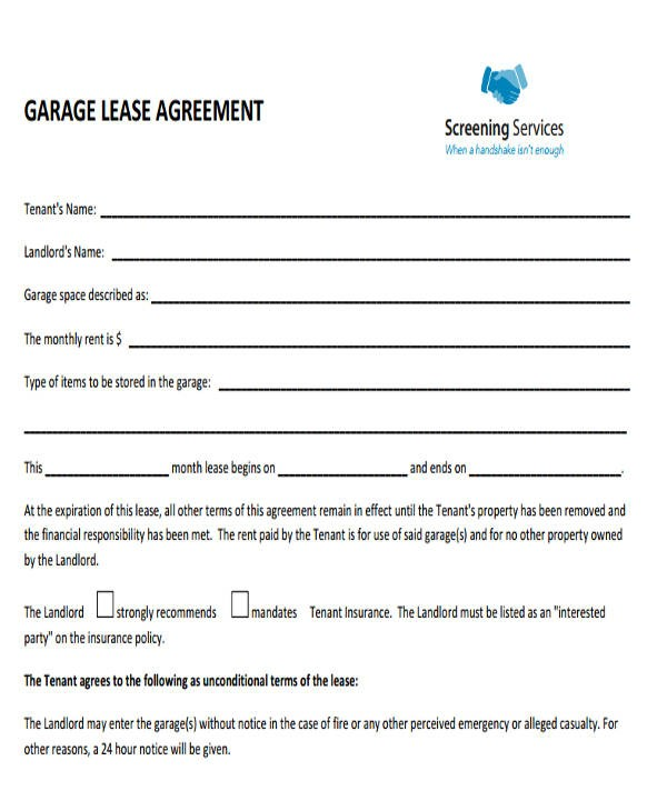 free garage rental agreement form  35+ Commercial Lease Agreement Samples - Word, PDF, Pages - free garage rental agreement form