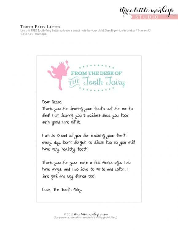 tooth fairy letter template girl free  36 Cute Tooth Fairy Letters | KittyBabyLove