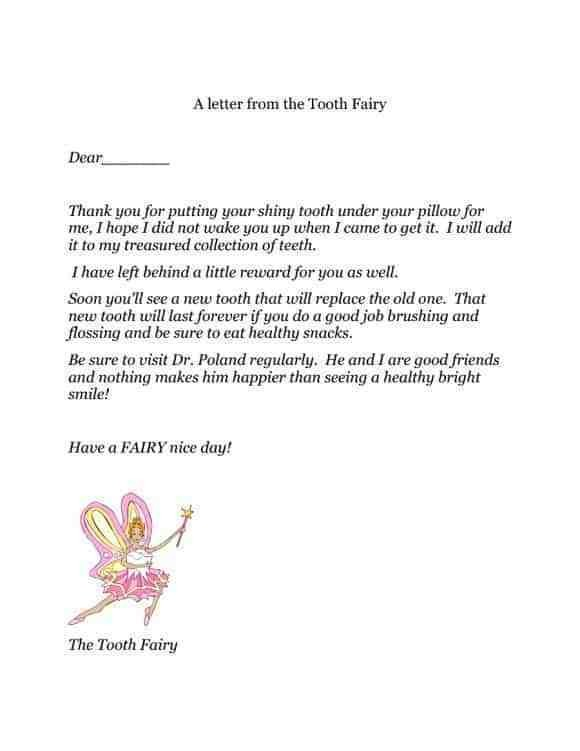 tooth fairy letter template  36 Cute Tooth Fairy Letters | KittyBabyLove