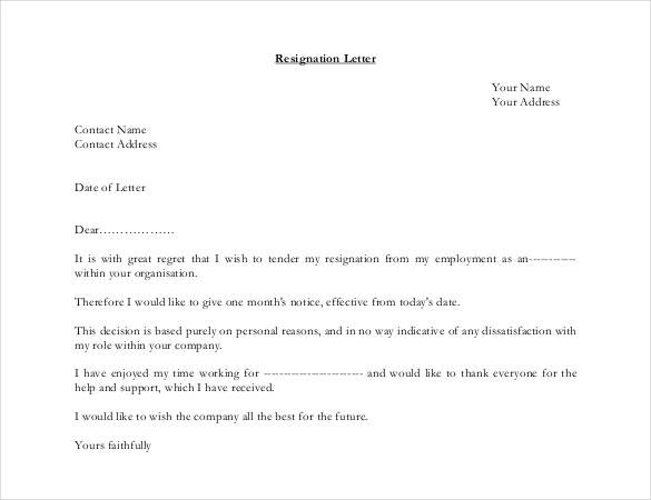 easy resignation letter template  39+ Simple Resignation Letter Templates - PDF, DOC   Free ..