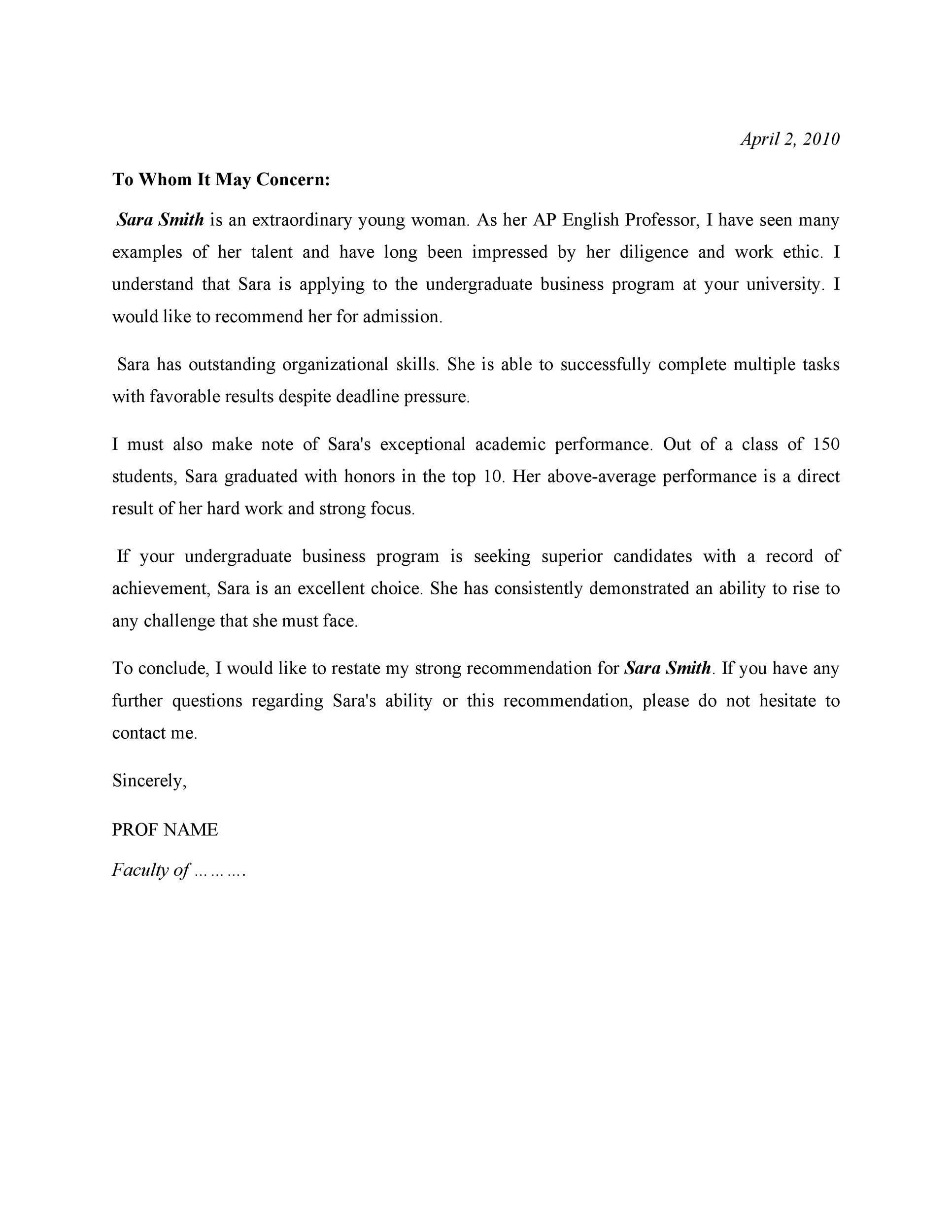 recommendation letter class teacher  50 Amazing Recommendation Letters For Student From Teacher - recommendation letter class teacher