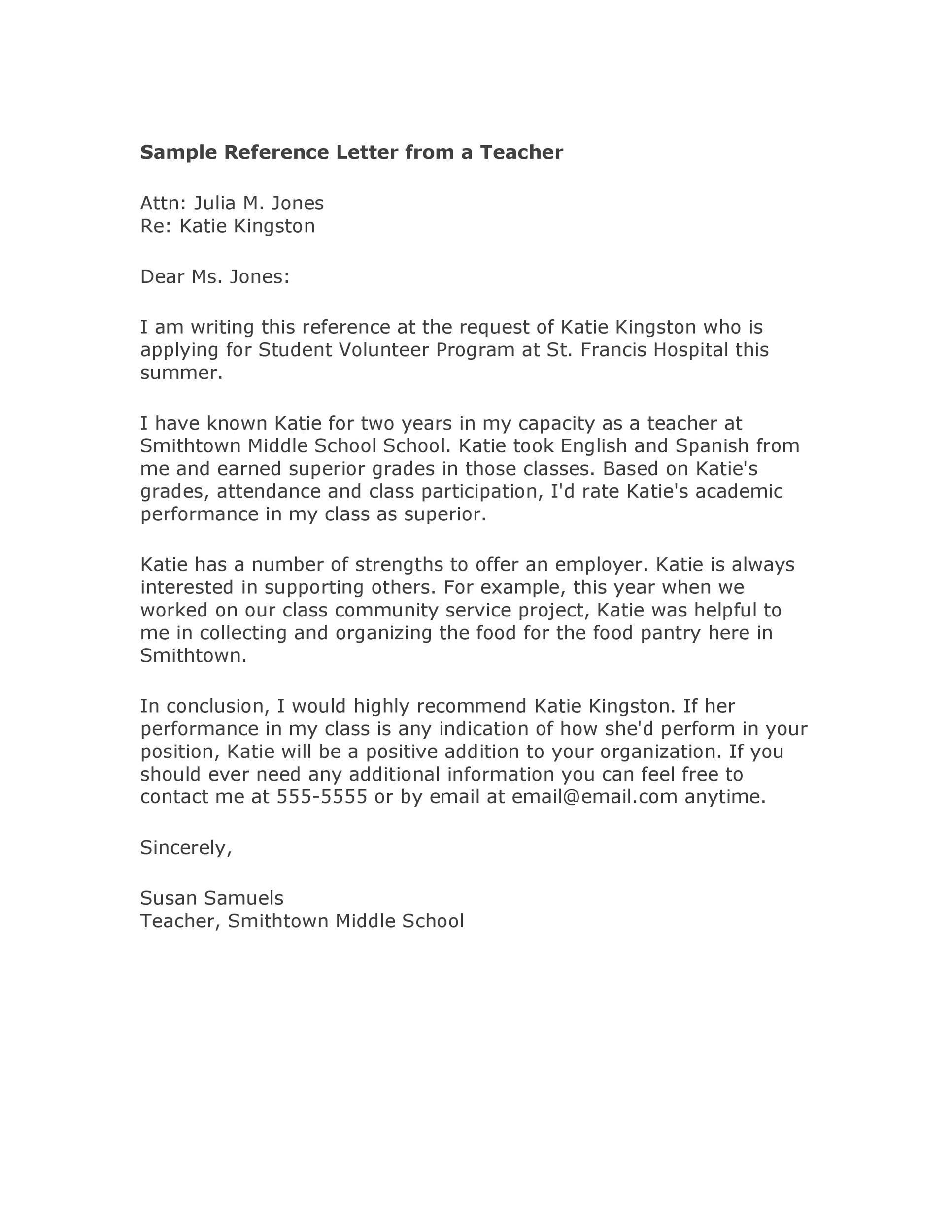 sample recommendation letter by teacher  50 Amazing Recommendation Letters For Student From Teacher - sample recommendation letter by teacher