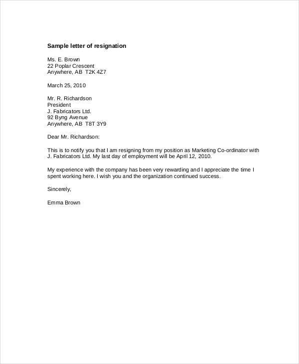 resignation letter template buyout notice period  6+ Resignation Letter With 30 Day Notice Template - PDF ..