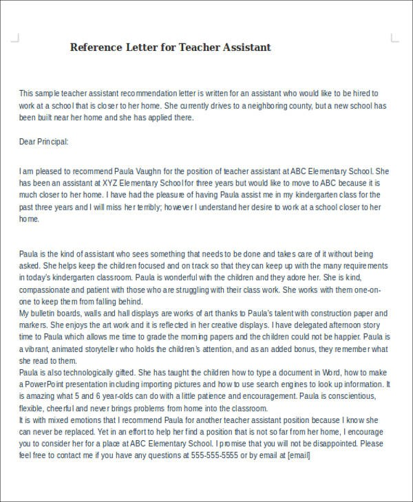 recommendation letter teacher assistant  6+ Sample Reference Letter For Teachers - Examples in PDF ..