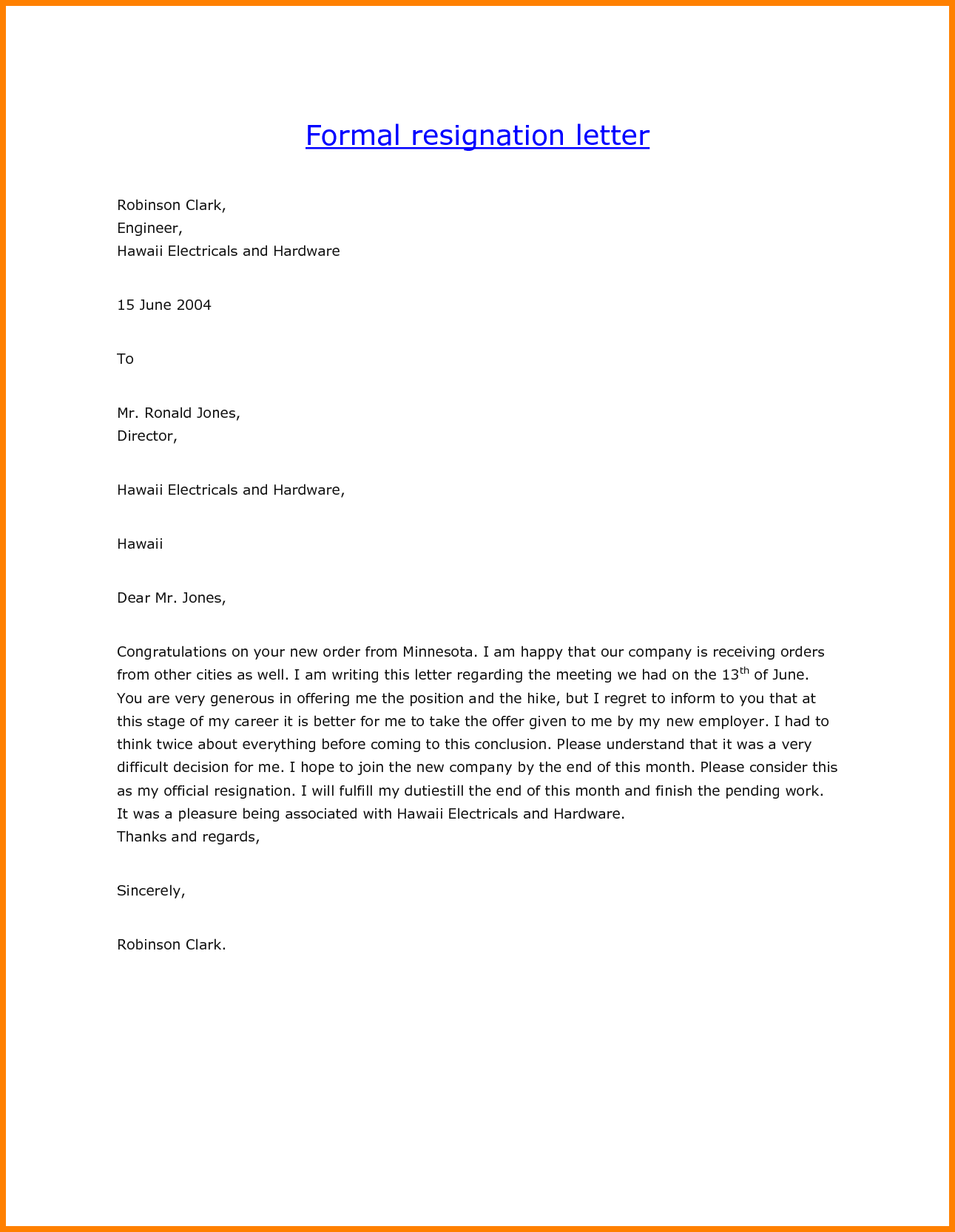 resignation letter template south africa  7+ formal resignation letter template | Sales Slip Template - resignation letter template south africa