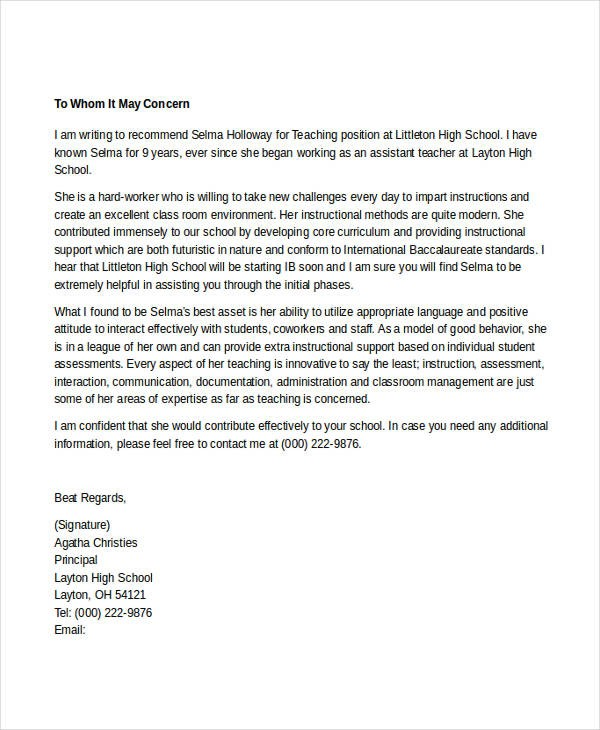 reference letter teacher example  7+ Teacher Reference Letters - Free Samples, Examples ..