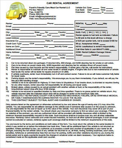 free car rental agreement form  8+ Car Rental Agreement Samples - Free Word, PDF Format ..