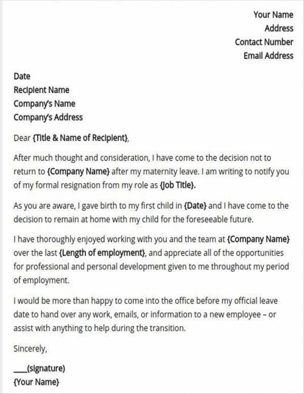 resignation letter template after maternity leave  8+ Maternity Resignation Samples & Templates - Free Word ..