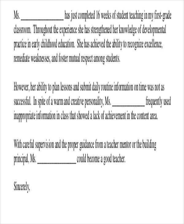 recommendation letter for teacher intern  8+ Sample Teacher Recommendation Letter - Free Sample ..