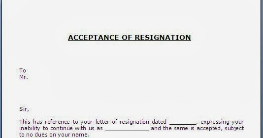 resignation letter template early release  Acceptance of Resignation Letter - resignation letter template early release