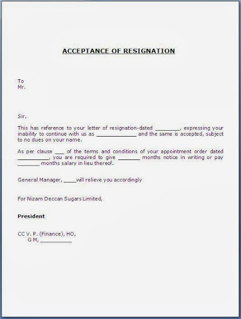 resignation letter template for bpo  Acceptance of Resignation Letter - resignation letter template for bpo
