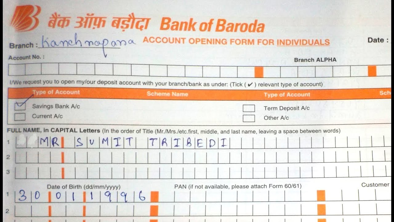 deposit form of bank of baroda  Account Opening Form Fill up Of Bank Of Baroda (BOB ..