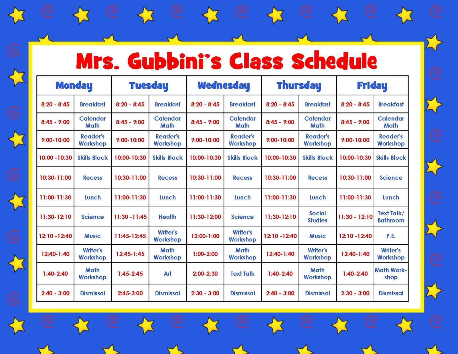 class schedule template kindergarten  Aloha Kindergarten!: July 2011 - class schedule template kindergarten