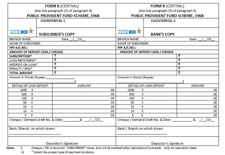ppf deposit form bank of india  Bank of India Deposit Slip PDF - 2019-2020-2021 StudyChaCha - ppf deposit form bank of india