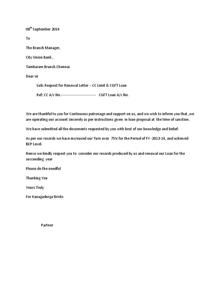 letter format for cc limit renewal  Bank Renewal Letter | Accountancy And Auditing | Economies - letter format for cc limit renewal