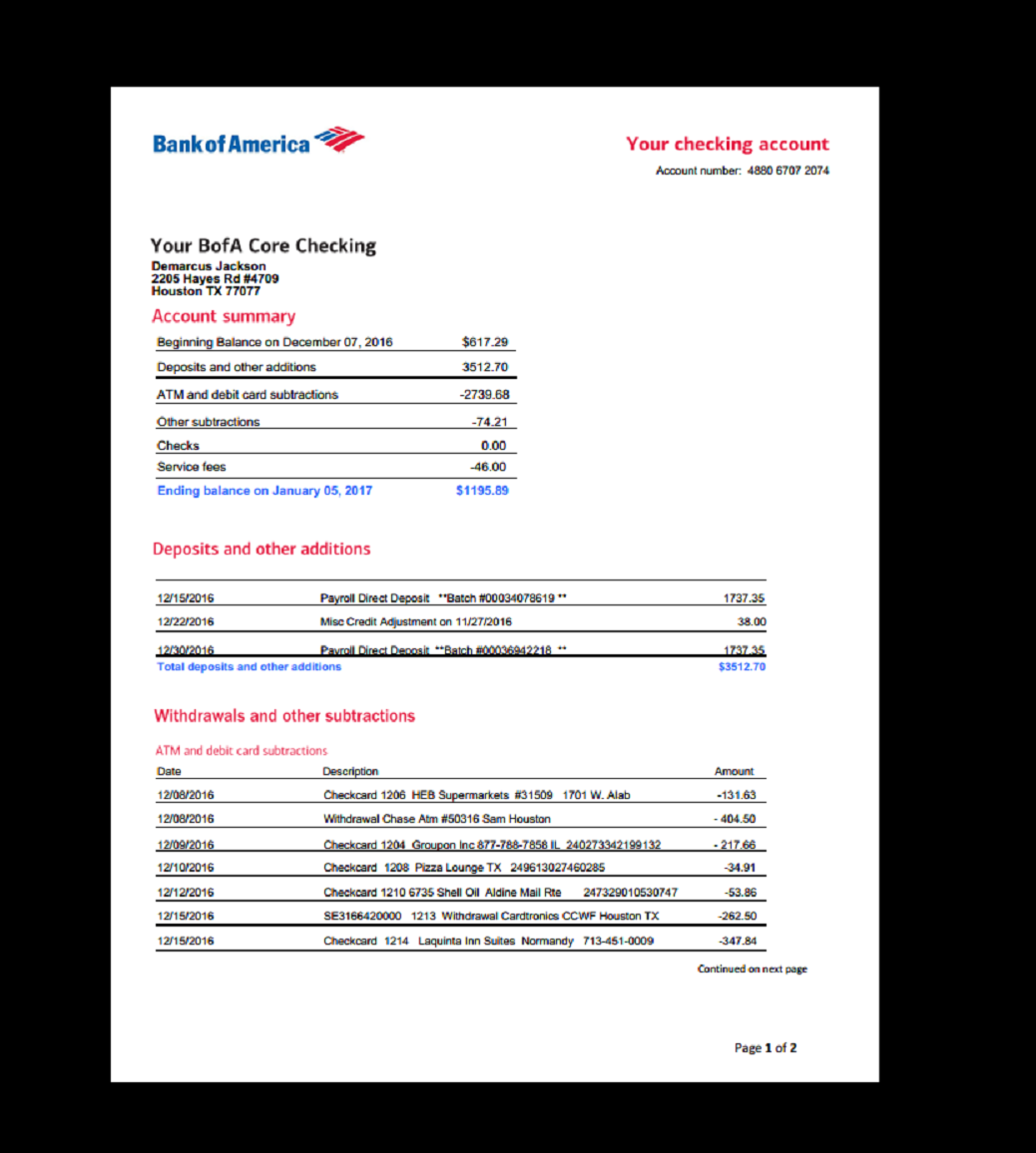 bank of america bank statement  Bank Statement, Bank America in 2019 | Fake Documents ..